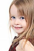 picture of blue eyes  - Pretty little girl taken closeup with blue eyes - JPG
