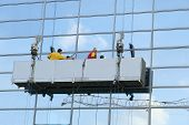 stock photo of cleaning service  - Window cleaning service for office building glases - JPG