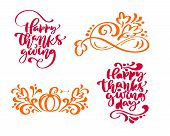 Set Of Four Calligraphy Phrases Happy Thanksgiving And Happy Thanksgiving Day. Holiday Family Positi poster