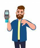 Happy Man Showing / Holding Credit / Debit Card Inserted Pos Terminal Payment Card Swipe Machine And poster