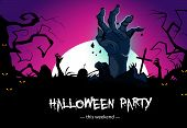 Halloween Party Poster Design With Zombie Hands. Creative Lettering With Zombie Hands From Grave, Ye poster