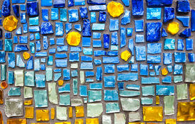 image of ceramic tile  - colorful glass mosaic wall background - JPG
