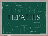 stock photo of hepatitis  - Hepatitis Word Cloud Concept on a Blackboard with great terms such as liver virus type b viral symptoms and more - JPG