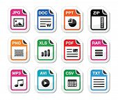picture of png  - Popular internet file types glossy labels set - JPG
