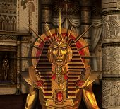 image of pharaoh  - A scenec from ancient Egypt with a Pharaoh statue in a burial chamber  - JPG