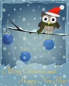 Owl Marry Christmas and Happy New Year