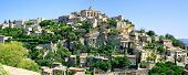 Gordes Medieval Village On Rock Hill Panorama. Luberon, Provence, France.