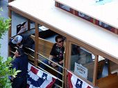 Tim Lincecum And Dan Runzler Hang In Trolley Car Before Start Of Parade