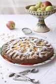 picture of torta  - Italian apple pie with pine nuts and sugar powder - JPG
