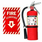 Fire Extinguisher And Sign Isolated