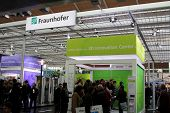HANNOVER GERMANY - MARCH 10: stand of Fraunhover on March 10 2012 at CEBIT computer expo Hannover