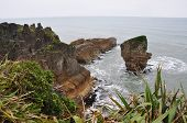 pancake rock and sea