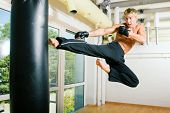 pic of sandbag  - Kickboxer actually flying at the sandbag - JPG