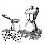 Sketch Of Mocha Coffee Maker And Turkish Cezve With Some Coffee Beans