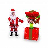 santa with big gift box and elves