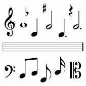 pic of g clef  - music clefs and notation elements on white background - JPG