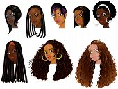 stock photo of cornrow  - Vector Illustration of Black Women Faces - JPG