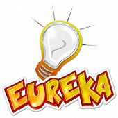eureka word and light bulb