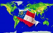 Fist In Color  Flag Of American State Of Georgia    Punching World Map