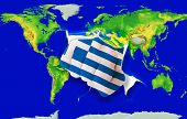 Fist In Color  National Flag Of Greece    Punching World Map