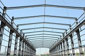 stock photo of girder  - nobody Steel frame structure building construction site - JPG