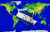 Fist In Color  National Flag Of Honduras    Punching World Map