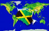 Fist In Color  National Flag Of Jamaica    Punching World Map