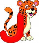 Alfabeto J con dibujos animados de jaguar