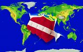 Fist In Color  National Flag Of Latvia    Punching World Map