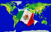 Fist In Color  National Flag Of Mexico    Punching World Map