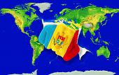 Fist In Color  National Flag Of Moldova    Punching World Map