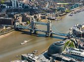 Tower Bridge and London City Hall aerial view, England, UK