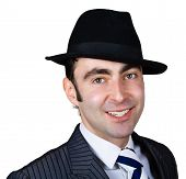 Smiling Retro Businessman In Hat