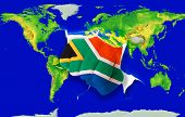 Fist In Color  National Flag Of South Africa    Punching World Map