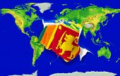 Fist In Color  National Flag Of Srilanka    Punching World Map