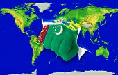 Fist In Color  National Flag Of Turkmenistan    Punching World Map