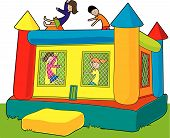 image of bounce house  - A colorful bounce castle set outdoors on white background - JPG