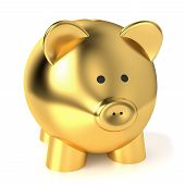 stock photo of piggy  - Financial savings and business concept with a golden piggy bank or money box on white background - JPG