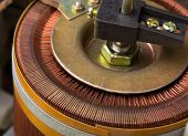 Closeup of copper inductor in electrical transformer