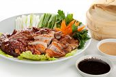 stock photo of duck breast  - Breast of Duck with Vegetables and Rice Pancake - JPG
