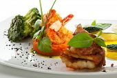stock photo of shrimp  - Seabass Fillet with Shrimps on Mashed Carrots with Broccoli - JPG