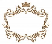 stock photo of crown  - Retro frame with royal crown and flowers for wedding or heraldry design - JPG