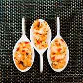 foto of marinade  - delicious marinade shrimp in white plate - JPG