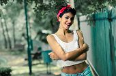 Pin-up Girl. American Style, In A Garden