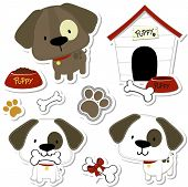 stock photo of track home  - set of funny baby dogs and puppy elements like stickers - JPG
