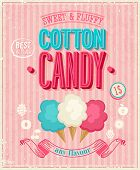 Vintage Cotton Candy Poster. Vektor-Illustration.
