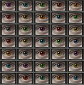 Video Monitor Screens Of Eyes With Different Color Pupils