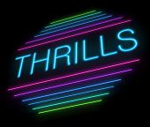 stock photo of titillation  - Illustration depicting an illuminated neon thrills sign - JPG