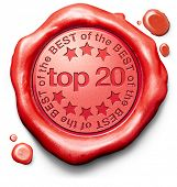 pic of prize  - top 20 charts list pop poll result and award winners chart ranking music hits best top quality rating prize winner icon red wax seal stamp - JPG
