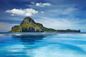 Landscape with swimming pool and Cadlao island, El Nido, Philippines